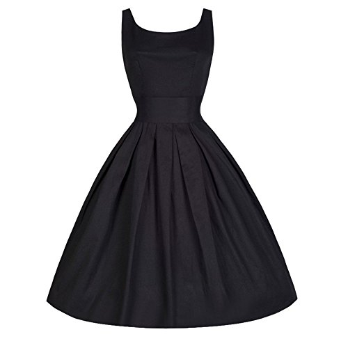 iLUGU Boat Collar Sleeveless Knee-Length Dress for Women Solid Color Pleated A-Line Dress Dress Shirts for Women Black