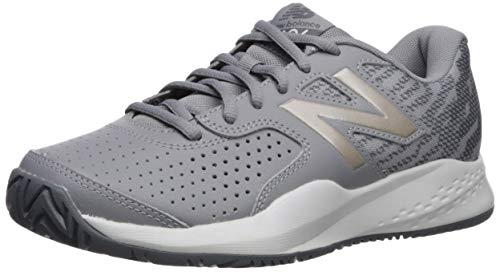 (New Balance Women's 696v3 Hard Court Tennis Shoe, STEEL/CHAMPAGNE, 7.5 M US)