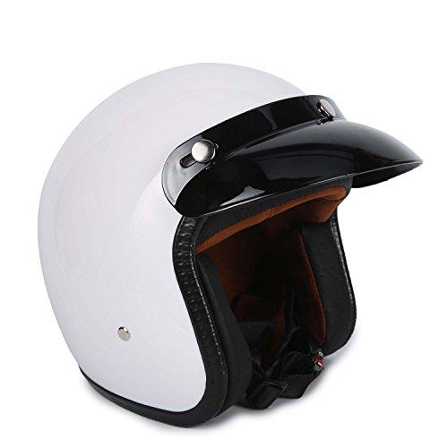 3/4 Fiberglass Moped Open Face Scooter Bobber Motorcycle Helmet (L, White)