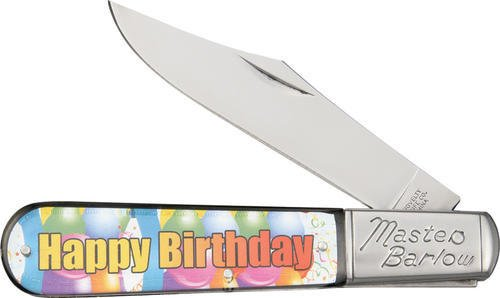 Novelty Cutlery 261 Happy Birthday Barlow Knife with Colo...