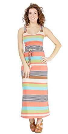 (74984R) Classic Designs Womens Racerback Maxi Dress - Multi Stripe Stretch Jersey (S-4X) in Earth Stripe Size: 4X