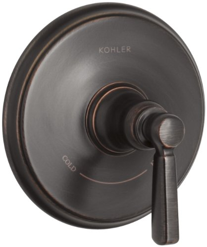 KOHLER K-T10593-4-2BZ Bancroft Valve Trim with Metal Lever Handle for Thermostatic Valve, Requires Valve, Oil-Rubbed Bronze ()