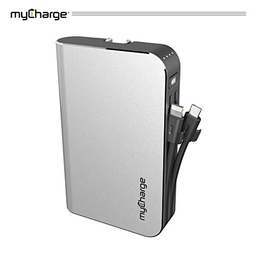 - myCharge Portable Charger Power Bank - HubMax 10050 mAh External Battery Pack | Wall Charger Foldable Plug | Built in Cables (Apple iPhone Charger Lightning Cable and Android Samsung Micro USB Cable)