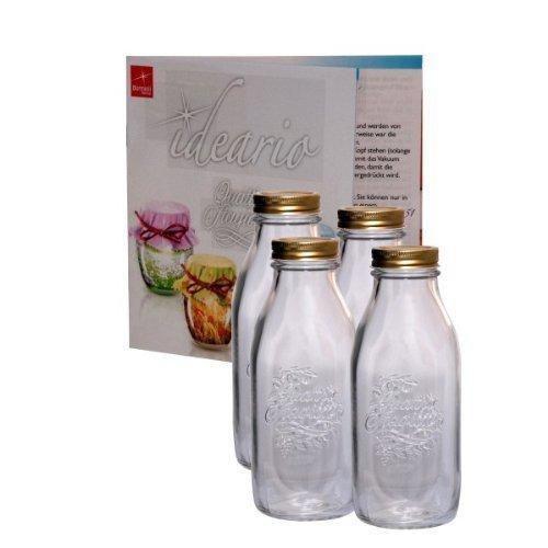 4er Set Einmachglas Original Quattro Stagioni 1,0L Flasche incl. Bormioli Rezeptheft