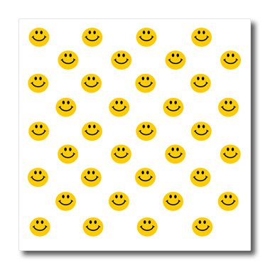 Smiley Face Fabric - 3dRose Yellow Smiley Face Pattern-Cute Traditional Happy Smilies-1960S Hippie Style Smiling Smileys-Iron on Heat Transfer, 8 by 8