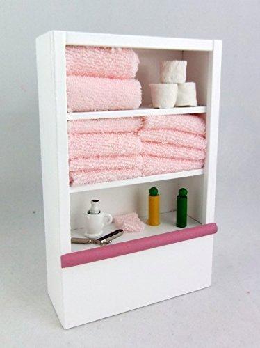 Dollhouse Miniature Furniture White Bathroom Shelf Unit and Accessories Pink