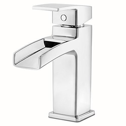 Handle Waterfall Single (Pfister LG42DF0C Kenzo Single Control Waterfall 4 Inch Centerset Bathroom Faucet in Polished Chrome, Water-Efficient Model)