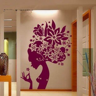 [Wall Vinyl Sticker Decals Kids Room Decor Mural Woman Flower Girl Cheap #151] (Diy Snow Globe Costume)
