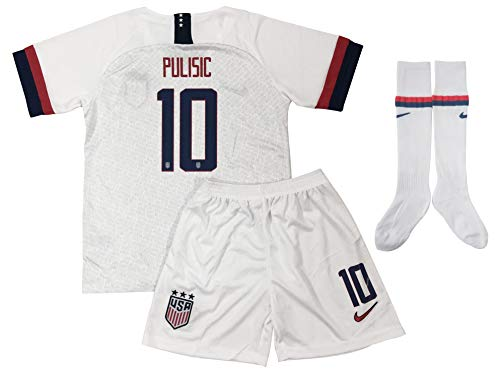 (New 2019/2020 Christian Pulisic #10 USA National Soccer Team Home Jersey Shorts & Socks for Kids/Youths (5-6 Years Old) White)