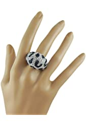 Glamorous Cocktail Party Fashion Statement Ring w/ Clear and Black Animal Print for Crystals Women Teens