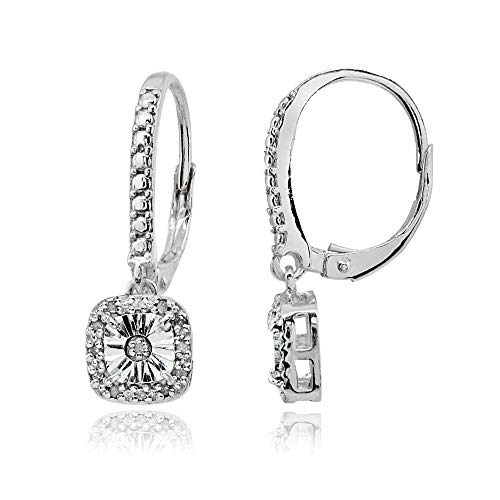 Sterling Silver Polished Square Cushion Diamond Accent Leverback Earrings, ()
