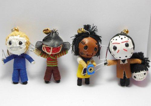 (Slasher Horror Set of 4 x Voodoo String Doll Keychain Keyring Ornament Charms)