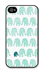 Iphone 4s Case Fashion Design Mint Green Elephants Black PC Hard Case For Apple Iphone 4S