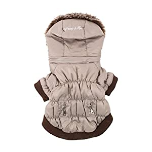 PET LIFE Classic Metallic Fashion Pet Dog Coat Jacket Parka w/ 3M Insulation and Removable Hood, Large, Metallic Grey