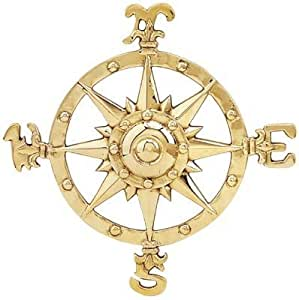 Small Brass Compass Rose Nautical Wall Plaque by HS