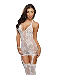 DreamGirl Women's Florence Halter Dress with Garter and Stockings