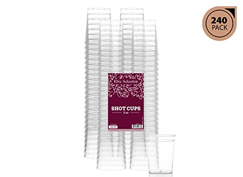 Glass Plastic Shot Glass (Elite Selection Pack Of 240 Disposable Party Hard Plastic 2 Oz. Shot Glasses Cups)