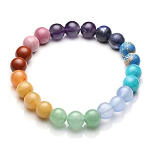 Top Plaza Chakra Healing Crystals Natural Stone Beads Bracelet Handmade Gemstone Stretch Bracelets Yoga Reiki Jewelry for Women Men