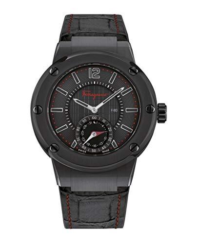 - Salvatore Ferragamo Men's F-80 Stainless Steel Swiss-Quartz Watch with Leather Calfskin Strap, Black, 24 (Model: FAZ020016)