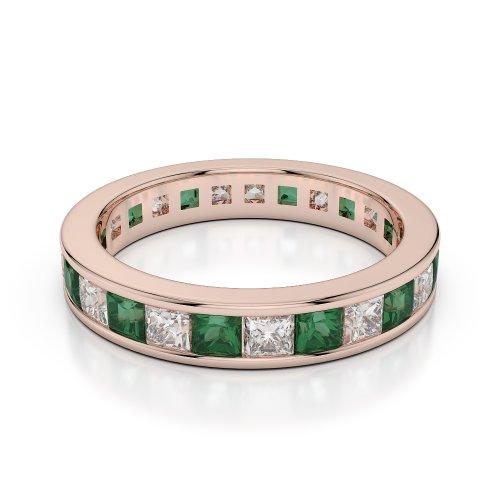 Or Rose 18carats 2,25CT G-H/VS sertie de diamants ronds découpé Émeraude et bague éternité Agdr-1134