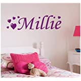 Personalised Love Heart Wall Sticker, Any Name, Any Colour, Childs Bedroom.