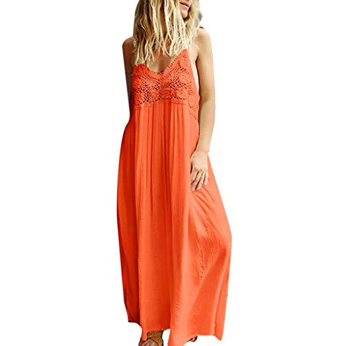 - TOOPOOT Summer Dress for Women, Ladies Solid Sleeveless Lace Casual Long Maxi Dress Summer Dress Orange