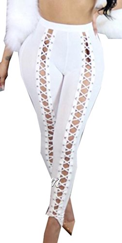 Yayu Womens Casual Elastic Bandage Eyelet Club Jogger Pants White (Eyelet Crop Pants)