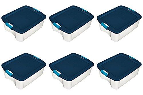 Sterilite 18 Gallon Latch and Carry Storage Tote Containers (6 Pack) 14469606 (Sterilite Gallon Bins 18 Storage)