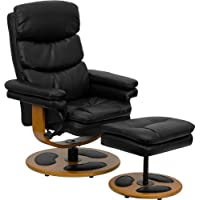Flash Furniture Contemporary Black Leather Recliner and Ottoman with Wood Base