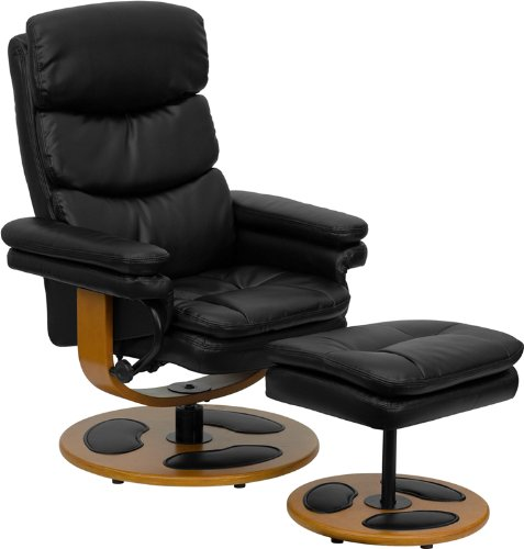 Flash Furniture Contemporary Black Leather Recliner and Ottoman with Wood Base by Flash Furniture