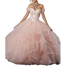 Ulbridal Princess Blush Pink Lace Beaded Ball Gown Quinceanera Dresses Plus Size