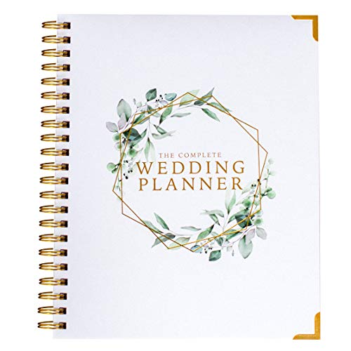 [New] Wedding Planner - Green Floral - Undated Bridal Planning Diary Organizer - Hard Cover, Pockets & Online Support