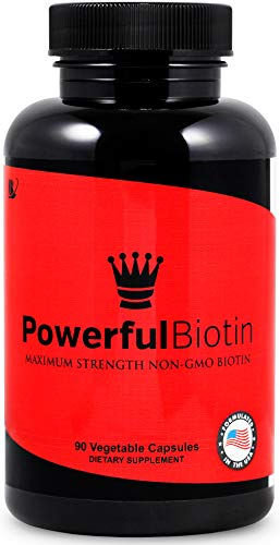 Powerful Biotin: Non-GMO, Highest Potency, Natural, Safe and Works Fast, Stop Hair Loss, Natural Hair Growth Vitamin for Men & Women, 90 Day Supply (Best Natural Vitamins For Hair Growth)