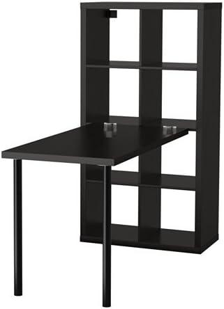 Negro Marrón IKEA Kallax estación de trabajo con estantería y escritorio