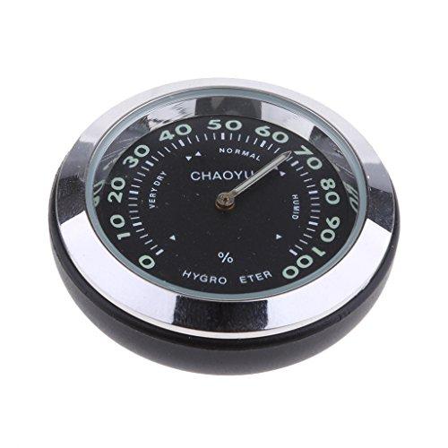 (Baoblaze Car Dashboard Small Round Quartz Hygrometer Thermometer Humidity Meter (Thermometer) Black)
