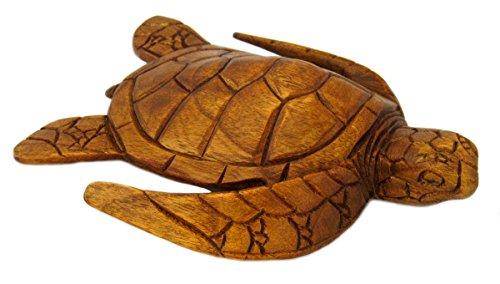 """9"""" Hand Carved Wood Hawaiian Honu Sea Turtle - Medium"""