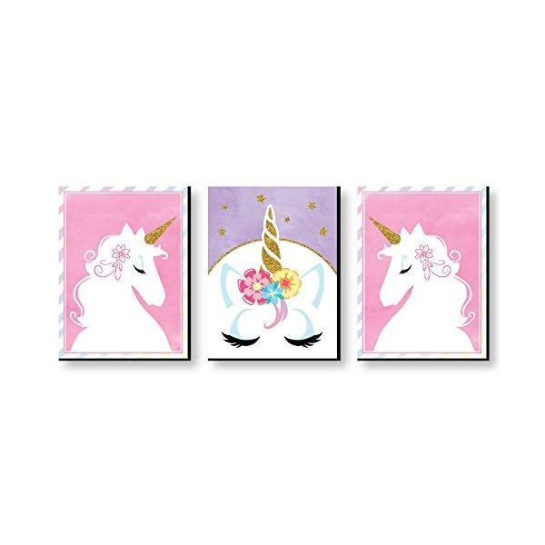 Big Dot of Happiness Rainbow Unicorn - Baby Girl Nursery Wall Art and Kids Room Decorations - 7.5 x 10 inches - Set of 3 Prints 3