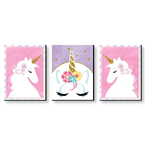 - Rainbow Unicorn - Baby Girl Nursery Wall Art and Kids Room Decorations - 7.5 x 10 inches - Set of 3 Prints