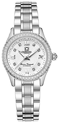 Carnival Women's Automatic Mechanical Bezel Inlay Rhinestones Stainless Steel Band Dress Chic Watch (White)