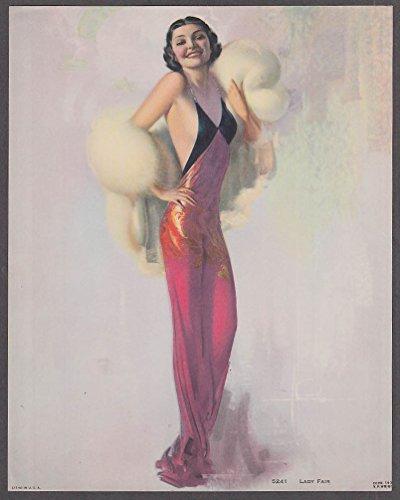 Rolf Armstrong pin-up print Lady Fair #5241 V P Wright 1930s slinky dress & fur -