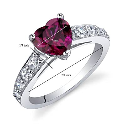 Dazzling Love 1.50 Carats Created Ruby Ring in Sterling Silver Rhodium Nickel Finish Sizes 5 to 9