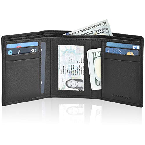 Slim Leather wallets for Men - Slim wallet travel wallet RFID Leather wallet for men leather wallet mens slim wallet small (01 Black Smooth)