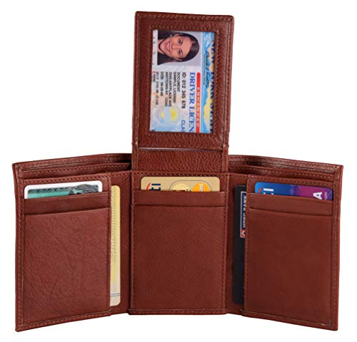 Men's Classic Trifold RFID Blocking Wallet with id slot and 8 card slots - Brown