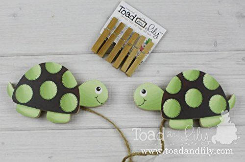 Green and Brown Mod Turtle Wooden Wall Art DISPLAY CLIPS for Kids Bedroom Baby Nursery Playroom - Mod Wall Art Turtle