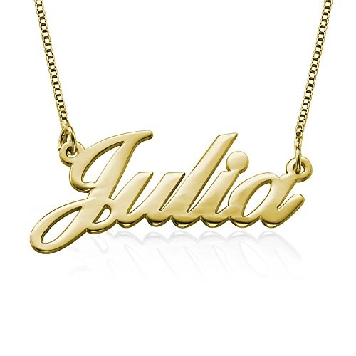 Name Necklace in Sterling Silver 925 or Gold Plated Silver Custom Inscribed Pendant Jewelry for Her My Name...