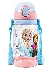 Disney Frozen Elsa Anna Water Bottle with Straw and Strap 520ml