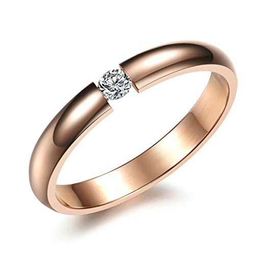 [MoAndy Endless Eternity Ring Stainless Steel Rose Gold-Tone Plated Cubic Zirconia Size 5] (Gold Antler Crown)