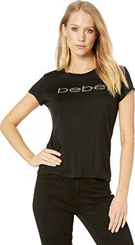 (bebe Womens Dallas with New Silver Logo Top Jet Black)