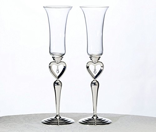 Lillian Rose Silver Jewel Heart Wedding Toasting Glasses