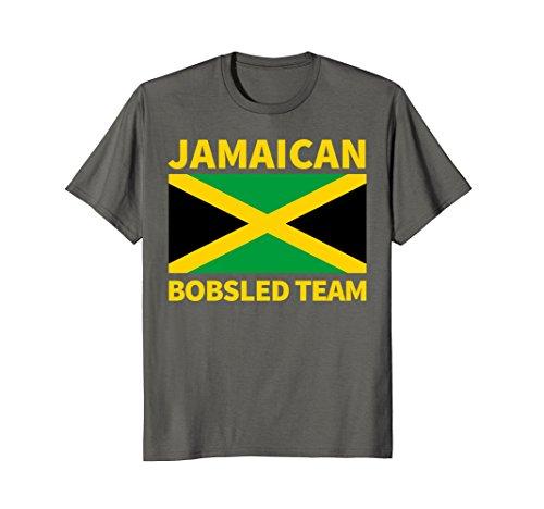 Mens Jamaican Bobsled Team T Shirt (Jamaica Flag) Large Asphalt